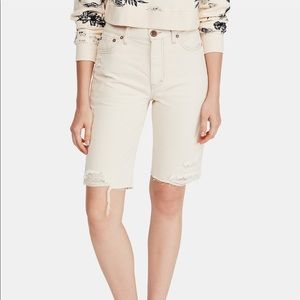 FREE PEOPLE cotton distressed cut off shorts